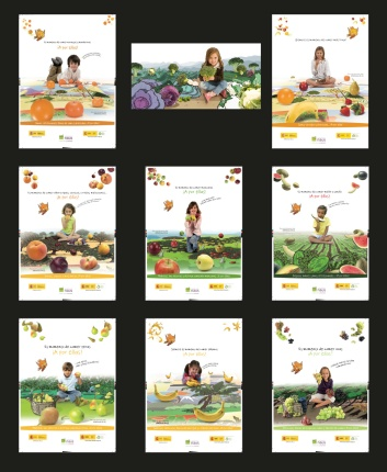 Creatividades originales de la campaña del fomento de consumo de frutas y verduras.